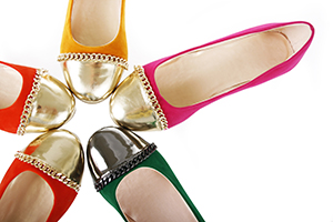 colorful flat shoes collection isolated on white.